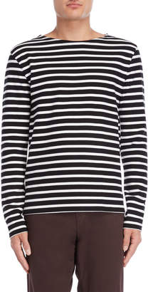 Le Mont St Michel Black & White Striped Long Sleeve Tee