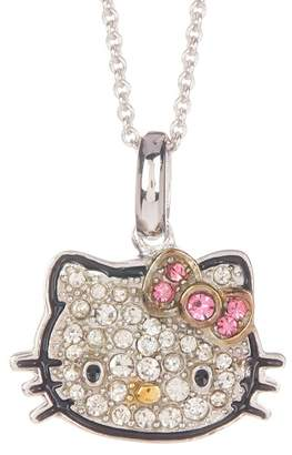 Hello Kitty Sterling Silver Pave Crystal Face Bow Pendant Necklace