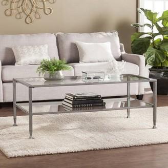 Southern Enterprises Jumpluff Metal/Glass Rectangular Open Shelf Coffee Table