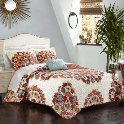 Chic Home Demesne 4-Piece Reversible Queen Quilt Set in Red
