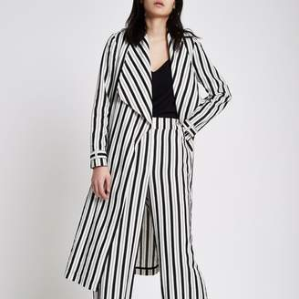 River Island Womens Black stripe duster trench coat