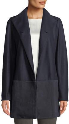 Lafayette 148 New York Valina Suede-Trimmed Coat