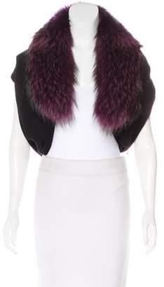 Alice + Olivia Wool Fur Trim Vest w/ Tags