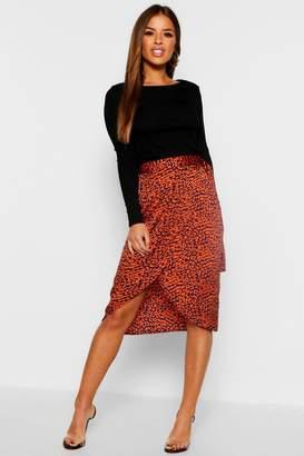 boohoo Petite Satin Leopard Print Midi Skirt