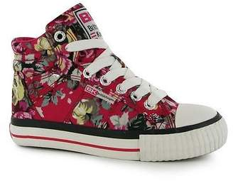 British Knights Kids Dee Mid Hi Top Canvas Shoes Lace Up Trainers Child Girls