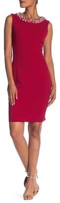 Marina Embellished Neck Sheath Dress