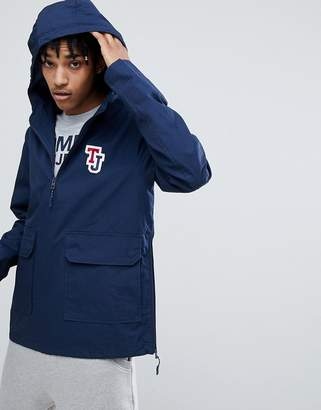 Tommy Jeans sleeve logo overhead hooded jacket in navy