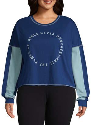 Flirtitude Long Sleeve Crew Neck T-Shirt-Womens Juniors Plus
