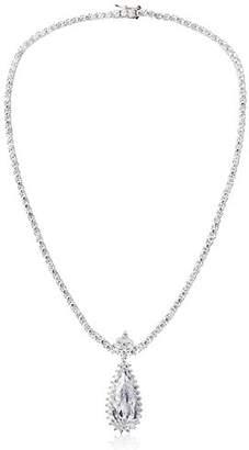 Kenneth Jay Lane CZ by Womens Framed Teardrop Pendant Tennis Necklace