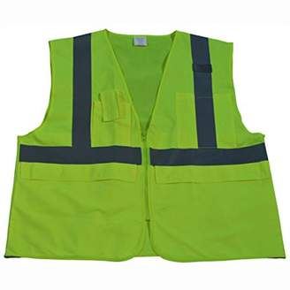 Petra Roc LV2-SUV-4X/5X ANSI Class 2 Huge Pockets Zipper Closure Multi-Pocket Surveyors Safety Vest, 4X-Large/5X-Large, Lime Solid