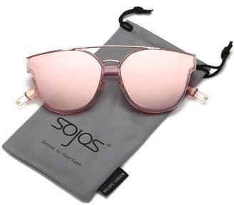 38d9df6e23 SojoS Classic Square Sunglasses for Women Men Flat Mirrored Lens SJ2038  with Silver Rim Dark