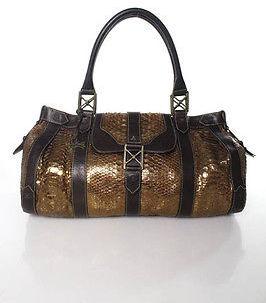 Christian Louboutin Christian Louboutin Python & Leather Trim Large Satchel Handbag