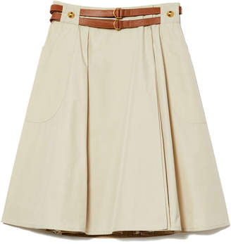 Tory Burch Betsy Belted A-Line Skirt