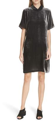 Eileen Fisher Tie Back Velvet Shift Dress