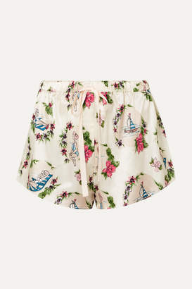 Off-White Morgan Lane - Martine Printed Satin Pajama Shorts
