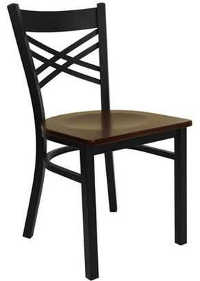 Flash Furniture X-Back Chairs - Set of 2, Black Metal / Mahogany Wood Seat