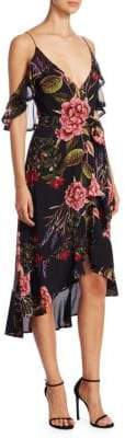 Nicholas Peony Floral Wrap Silk Dress