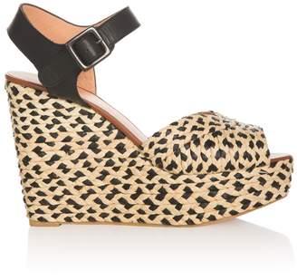 Clergerie Dom Raffia Wedge Sandals