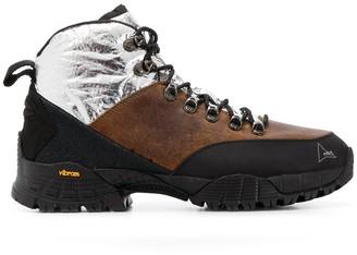 ROA colour block lace-up boots
