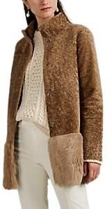 Barneys New York Women's Shearling Peplum Coat - Lt. brown