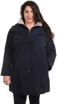 Fleet Street Plus Size Hooded Faux Silk Jacket