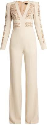 Elie Saab Lace-panelled flared-leg cady jumpsuit