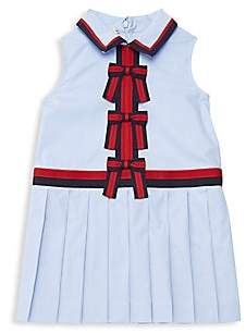 Gucci Girl's Pleated Bow Poplin Dress