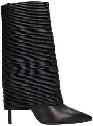 Balmain Babette Black Pleated Leather
