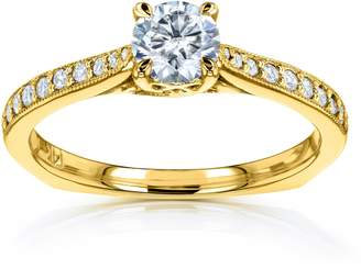 Victoria's Secret Kobelli Round Moissanite and Diamond Square Shank Trellis Engagement Ring 5/8 CTW 14k Yellow Gold (/VS, GH/I), 6.5