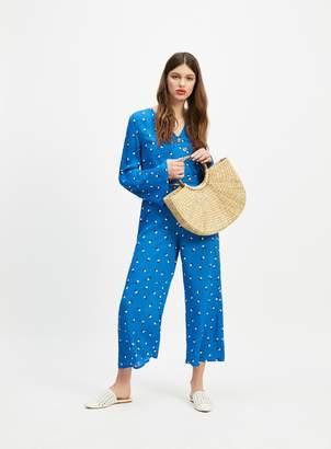 Miss Selfridge Blue Spot Print Cropped Wide Leg Trousers