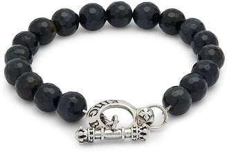 King Baby Studio Men's Blue Tiger Eye & Sterling Silver Bracelet