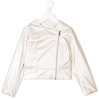 Miss Grant Kids faux-leather zipped jacket