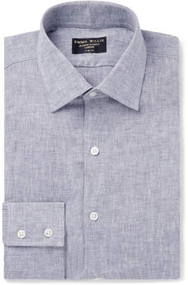 Grey Slim-Fit Melange Linen-Gauze Shirt