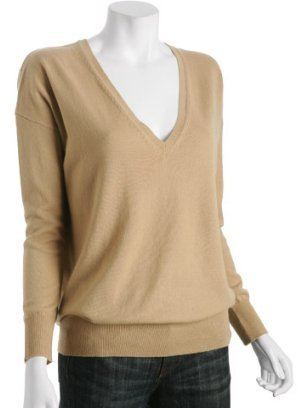 Autumn Cashmere camel cashmere v-neck boyfriend sweater