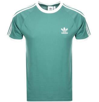 adidas California 3 Stripe T Shirt Green
