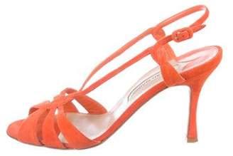 Manolo Blahnik Suede Slingback Sandals