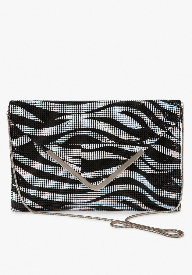 Zebra Mesh Envelope Clutch