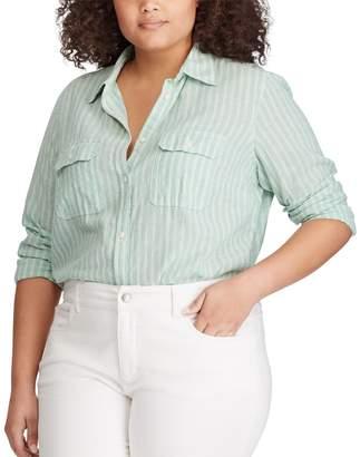 Chaps Plus Size Linen Blend Long Sleeve Button-Up