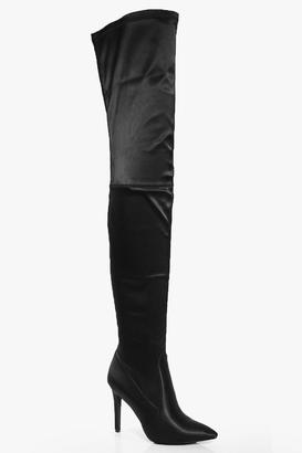 boohoo Beatrice Satin Pointed Thigh Boot $102 thestylecure.com