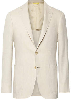 Canali Beige Kei Slim-fit Linen And Wool-blend Suit Jacket - Beige