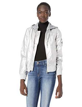 Madden-Girl Women's Faux Leather Bomber Jacket,M