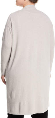 Lafayette 148 New York Long Button-Front Merino/Cashmere Cardigan, Plus Size