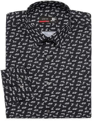 Jf J.Ferrar Easy Care Stretch Long Sleeve Broadcloth Animal Dress Shirt - Slim