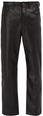 Acne Studios Straight Leg Leather Trousers - Mens - Black