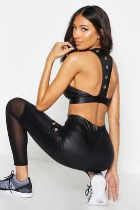 boohoo Fit Wet Look Eyelet Sports Bra