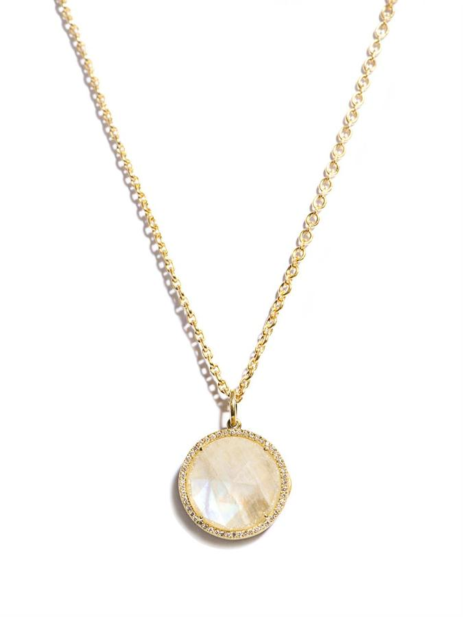 Irene Neuwirth Diamond, Moonstone & gold pendant necklace