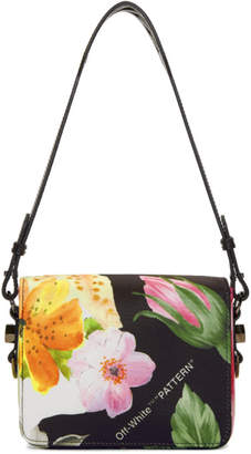 Off-White Black Floral Binder Clip Bag