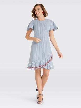 Draper James Embroidered Faux Wrap Dress