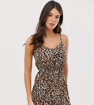 New Look Tall button through strappy romper in animal print