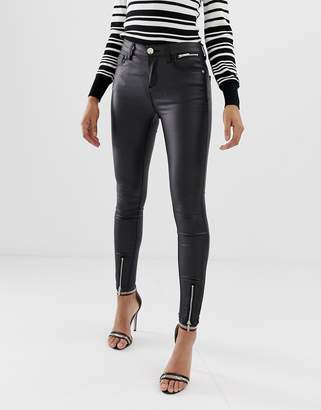 Lipsy coated skinny jeans with ankle splits